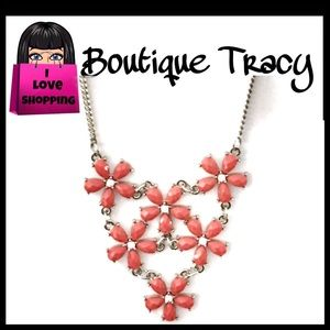 NEW Coral Statement Necklace Floral with Crystals